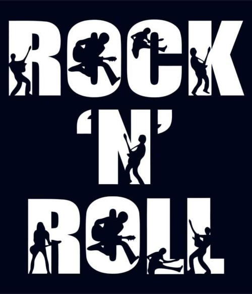 Rock 'N Roll Text Silhouette
